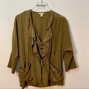 J Crew 100% Silk Brown Short Sleeve Top Size 2
